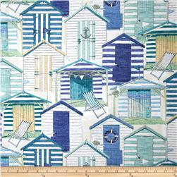 Richloom Indoor/Outdoor Beach Huts Blue Fabric