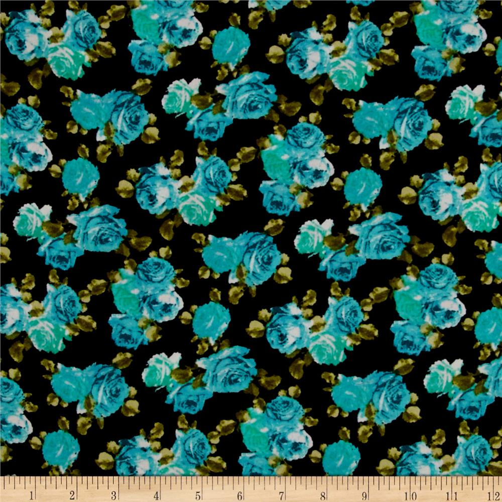 Crepe Garden Rose Turquoise /Green