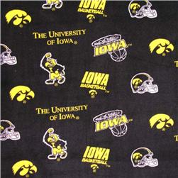 Collegiate Fleece University of Iowa Tossed Yellow/Black Fabric
