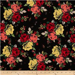 Faille Floral Black/Red/Yellow