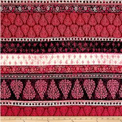 Double Brushed Jersey Knit Milana Ethnic Stripe Pink/Multi