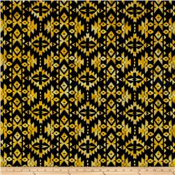 Indian Batik Sierra Nevada Southwest  Stripe Motif Black/Yellow/Gold