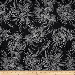 Berries and Blooms Metallic Poinsettia Outline Onyx/Silver