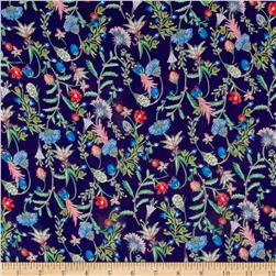 Liberty of London Regent Silk Chiffon Temptation Meadow Midnight Blue/Pink/Green