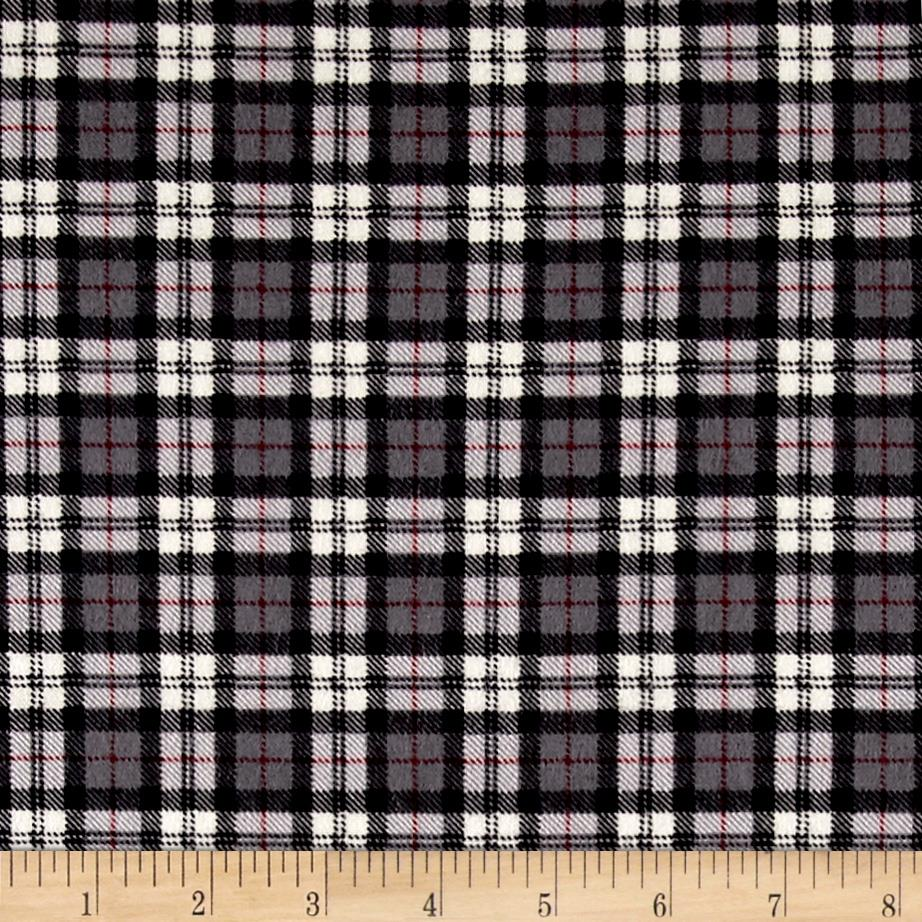 Mad for Plaid Flannel Square Plaid Grey Fabric