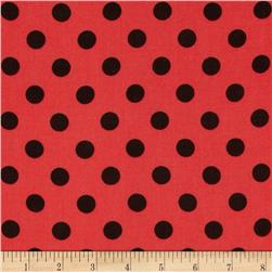 Rayon Challis Medium Dots Coral/Black