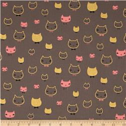Seven Islands Bowtie Kitties Canvas Metallic Grey