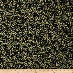 Irish Charm Metallic Shamrock Scroll Black/Gold