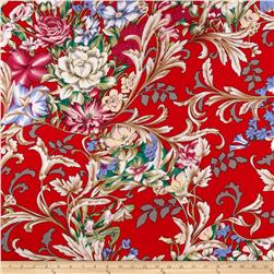 Rayon Challis Ditzy Floral Red