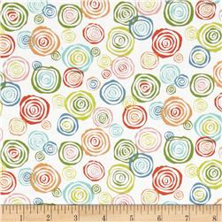 Interplay Layered Circles White Fabric