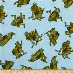 Frog and Toad Together Flannel Tossed Friends Blue