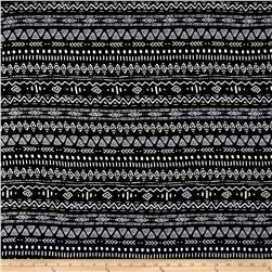 Tribal Stripe Rayon Challis Black/White