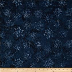 Timeless Treasures Tonga Batiks Snow Angel Snowflakes Indigo