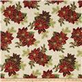 Good Tidings Paisley Poinsettia Natural/Gold