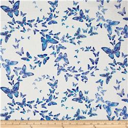 Timeless Treasures Dutchess Metallic Allover Butterflies Snow