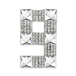 "Rhinestone Applique Number 9 2 1/4 x 1 3/4"" Crystal"