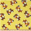 Timeless Treasures Flannel Foxes Yellow