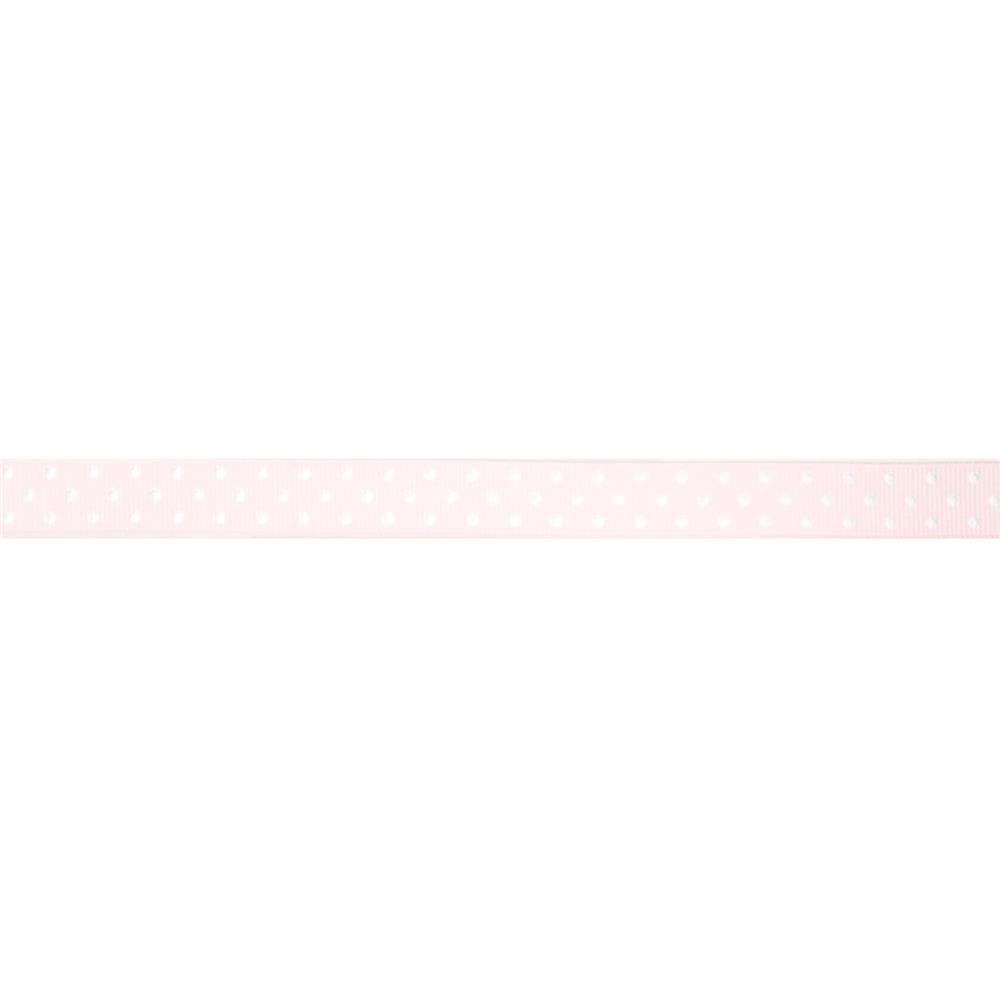 "May Arts 5/8"" Grosgrain Dots Ribbon Spool Pink/White"
