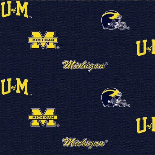 Collegiate Cotton Broadcloth University of Michigan Allover Navy