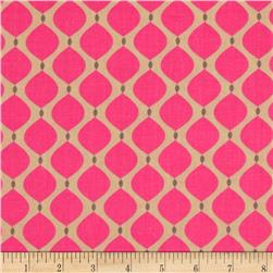 Bright Now Lemons Pink/Tan Fabric