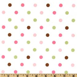 Cozy Cotton Flannel Polka Dot Pink Fabric