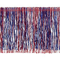 6'' Metallic Chainette Fringe Trim Red/White/Blue