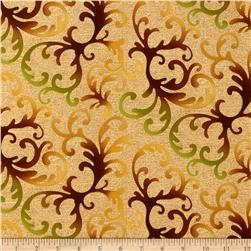 Shades of the Season Metallic Leaf Scroll Harvest Brown
