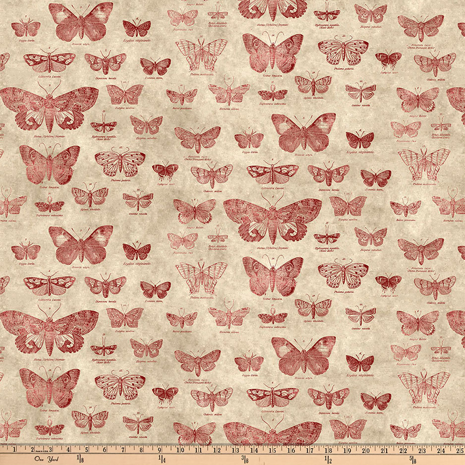Tim Holtz Eclectic Elements Butterflight Red Fabric