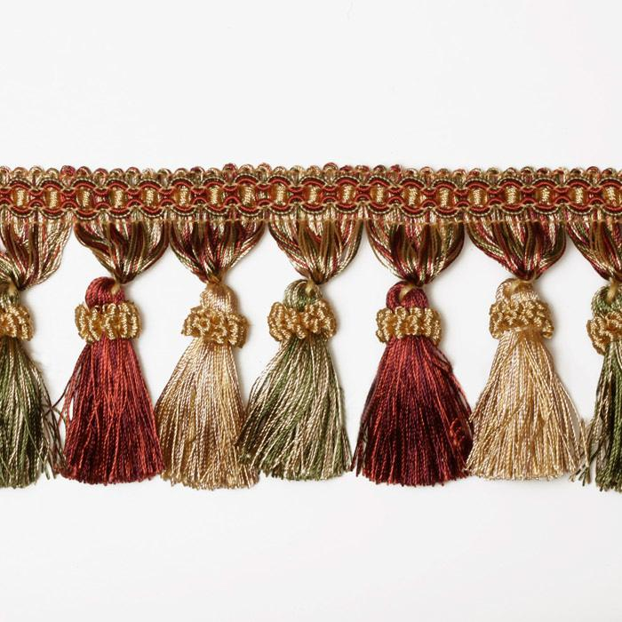 Decorative Trim Regal Tassel Fringe Olive/Crimson/Gold