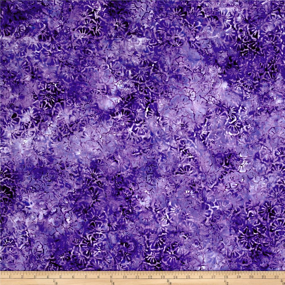 Wilmington Batiks Stacked Floral Medium Purple