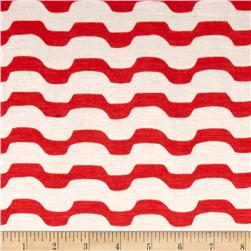 Jersey Knit Mod Stripe Red/White