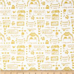 Riley Blake Vintage Market Text Yellow