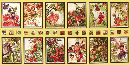 Michael Miller Autumn Flower Fairies Block Panel Autumn