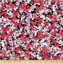 Rayon Challis Floral Black/Coral Fabric