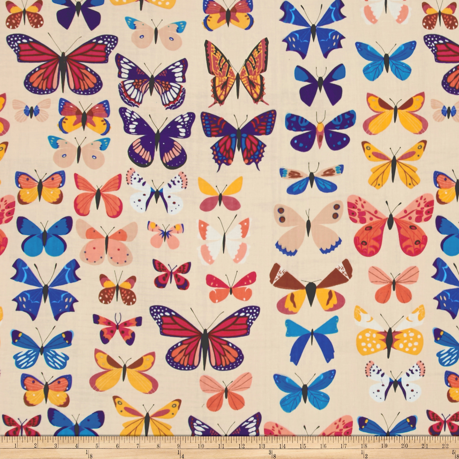 The Hit Parade Double Gauze Butterflies Assorted Natural/Multi Fabric by Andover & Makower in USA