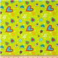 Owl Wonderful Flannel Hearts Allover Green