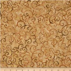 Indonesian Batiks Scroll Tan