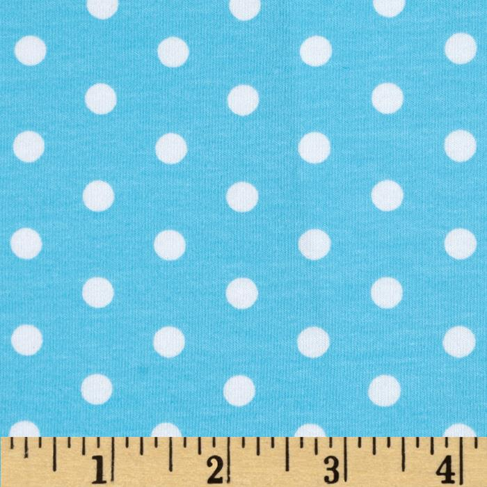 Kaufman Laguna Stretch Jersey Knit Polka Dot Aqua