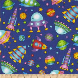 Welcome to My World Space Toss Blue Fabric