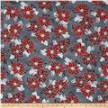 Winter Blossom Metallic Spaced Poinsettia Charcoal/Silver