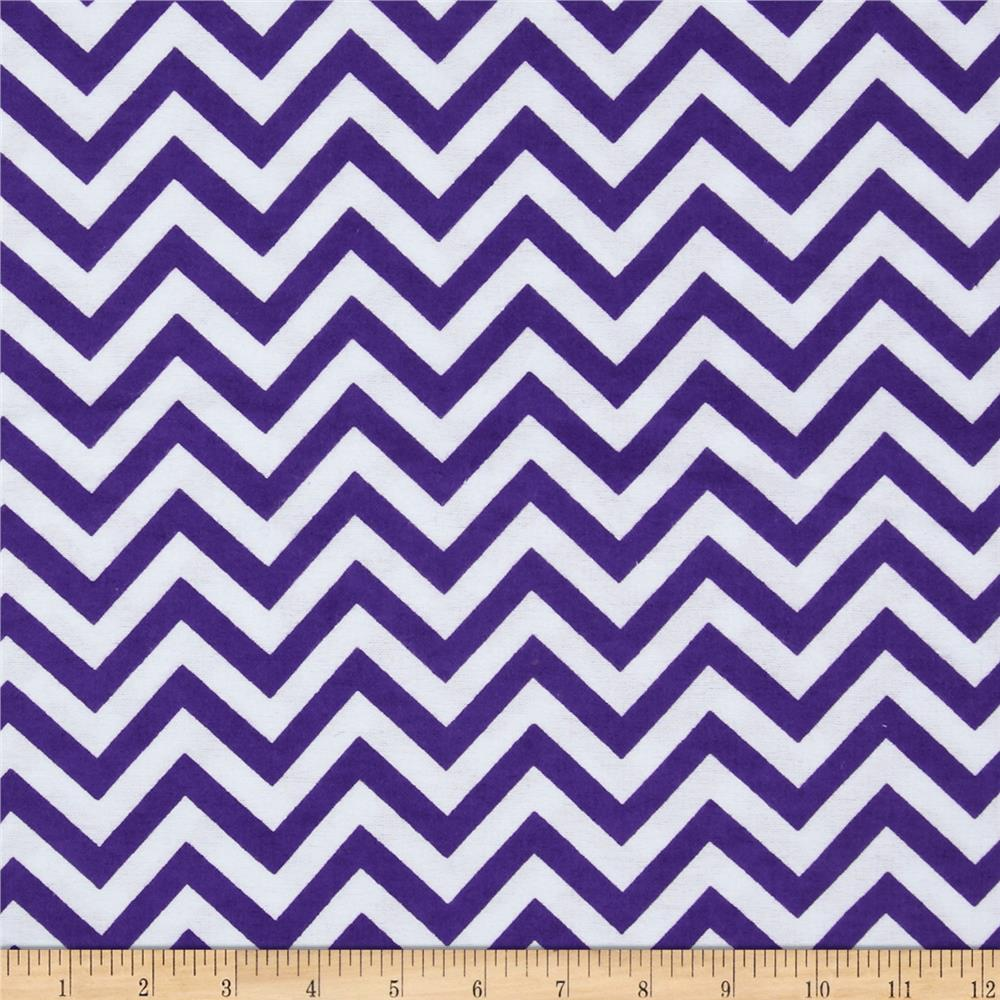 Flannel Chevron Deep Lavender/White - Discount Designer Fabric ...