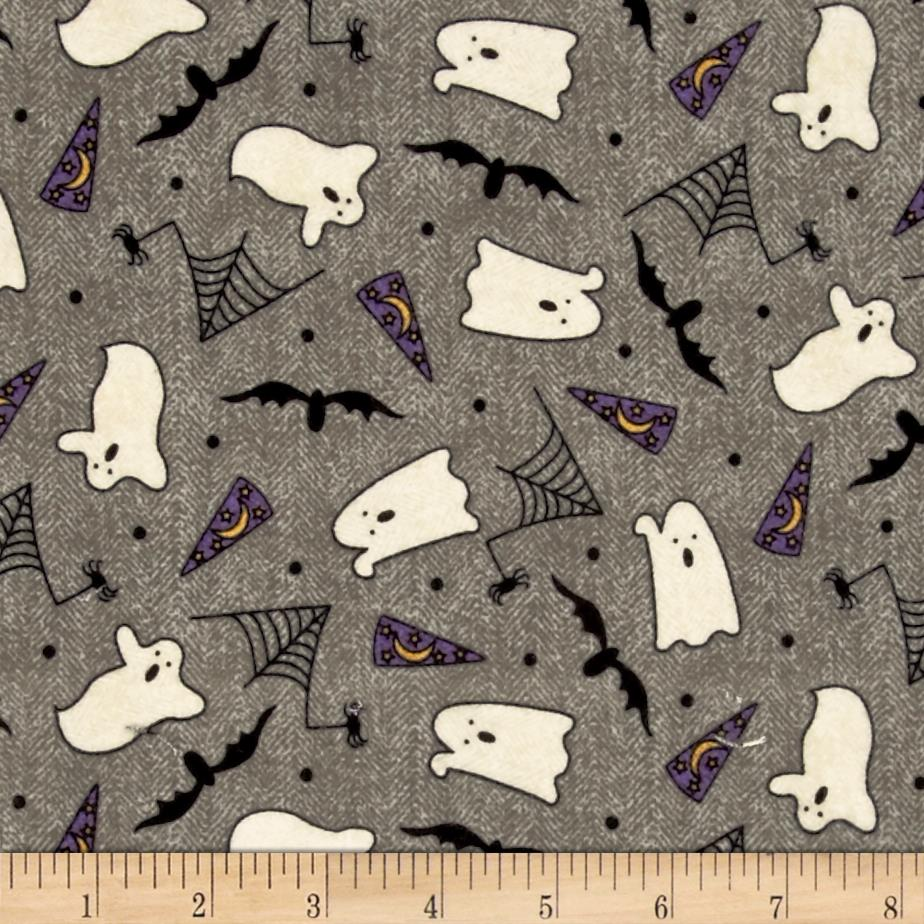 Pumpkin Party Flannel Ghosts And Bats Gray