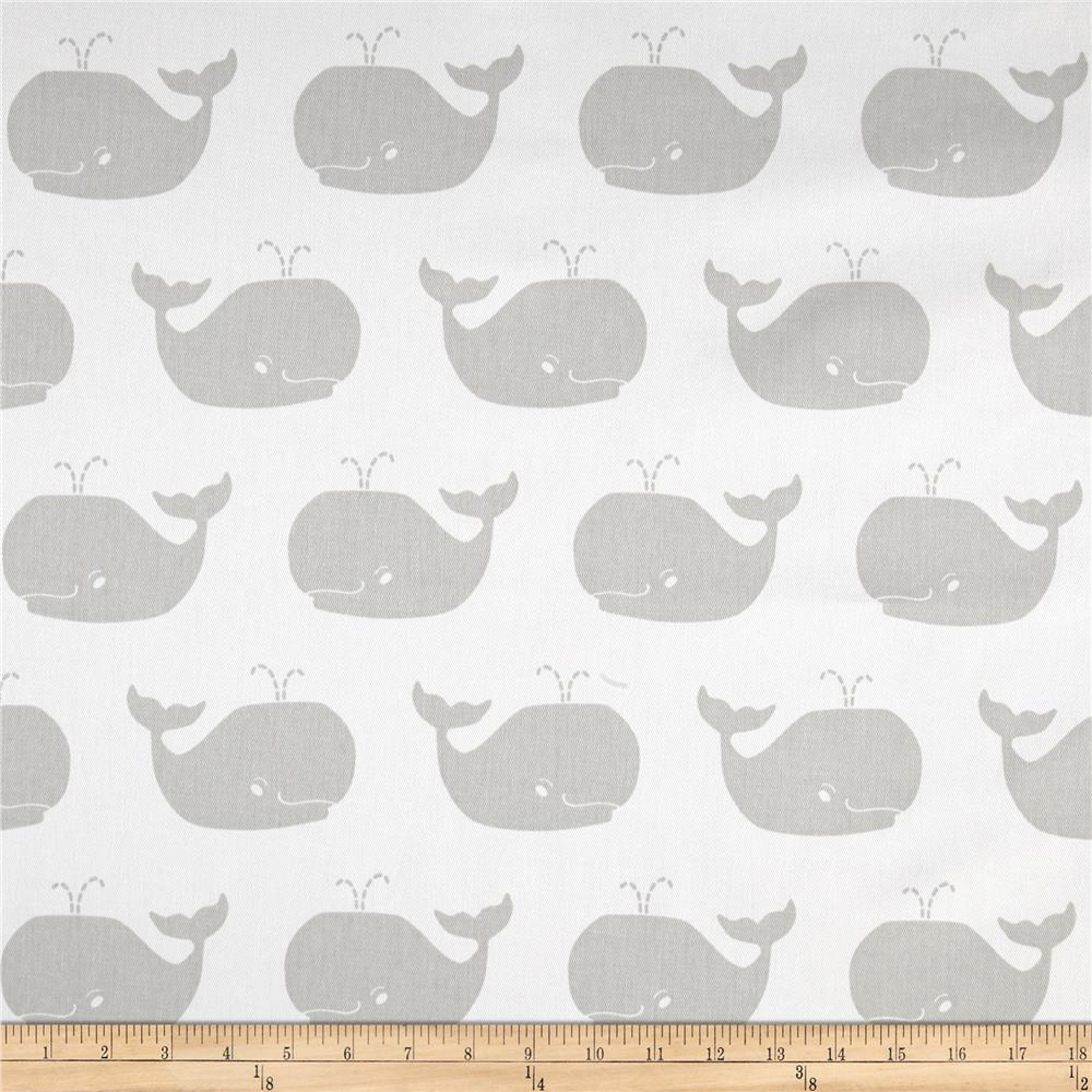 Premier prints whale tales twill white french grey for Whale fabric