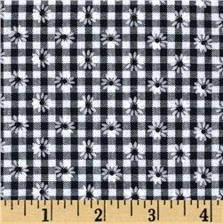 Woven 1/8'' Daisy Gingham Black Fabric