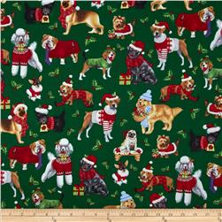 Kanvas Holiday Christmas Novelty Christmas Dog Green Fabric