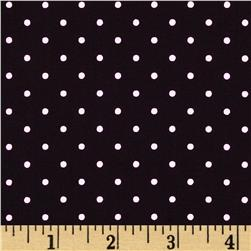 Stretch Poplin Pin Dots Black/Light Pink