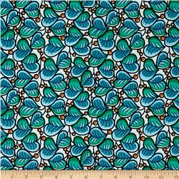Swimwear Print Heart Leaf Blue/Green