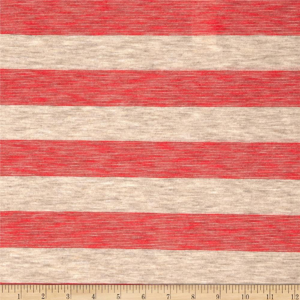 Yarn Dyed Jersey Knit Stripe Red/Heather Tan