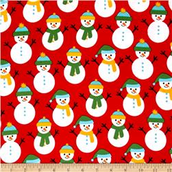 Kaufman Jingle Flannel Snowmen Crimson
