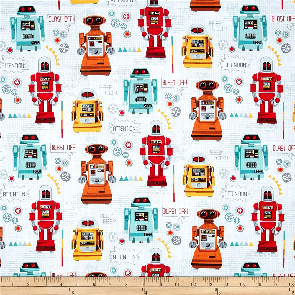 Andover galaxy robots multi discount designer fabric for Galaxy quilt fabric
